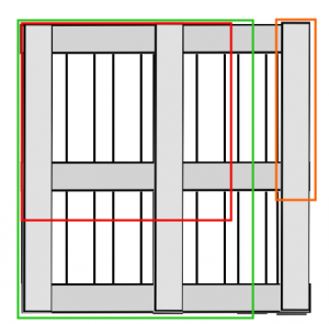 Pallet desk scheme. Green: side pieces. Red: corner piece. Orange: legs