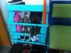 The downside: only two pairs of shoes fit into one rack element