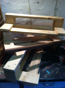 Shoe rack, all three storage elements: grinded and partially assembled