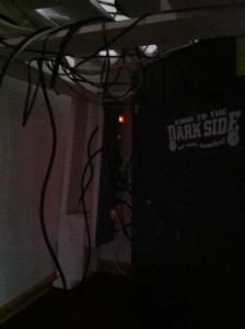 Assembled DIY desk: corner, base, and computer cables