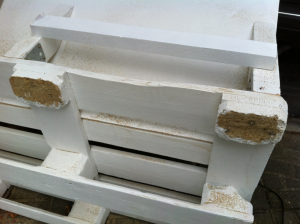 Broken pallet floor spacers - usecase for the cut-off saw