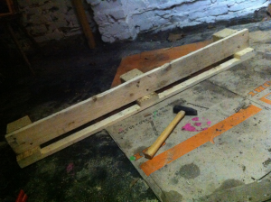 Remounted pallet board as a front panel