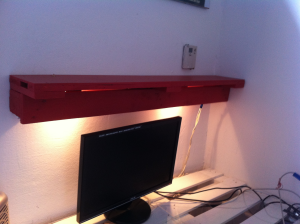 wall shelf finished, with indirect desk illumination