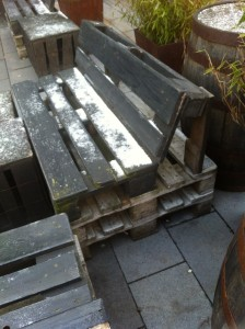 Pallet bench of a pub in Bochum, front view