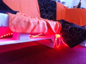 Pallet couch with LED Lights, Corner detail