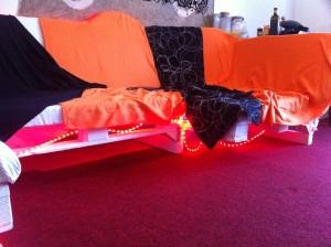 Kitchen furniture: Pallet sofa, lights on