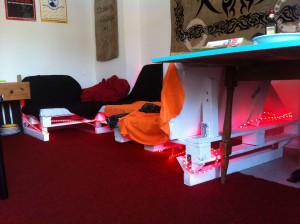 Pallet kitchen sofa, rearranged and finished