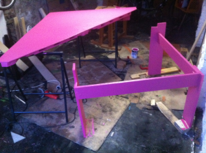 Pink pallet desk, finished painting