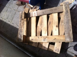 Foot section of garden chair pallets: Step 3