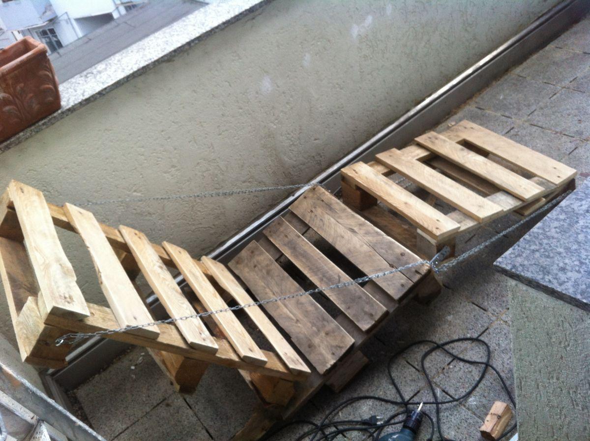 DIY garden furniture: canvas chair - pallet sunbed - Pallet Furniture : Pallet Furniture