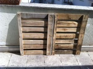 Pallet parts for kitchen cabinet, cleaned and grinded