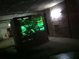 Pallet art installation: Videoprojection on pallets, Bochum