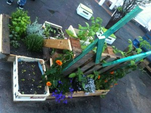 Garden installation made of pallets and flower pots, side view