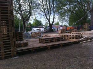 Pallet stage, work in progress - seating area