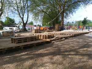 Open air stage made of Euro pallets, Bochum