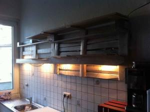 Empty kitchen pallet shelf, illuminated