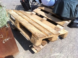 Pallet canvas chair, euro pallets, two-seater, euro pallets untreated