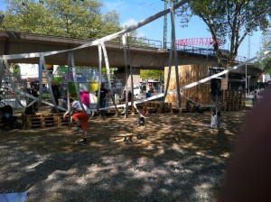 Pallet stage - panorama view with swing installation