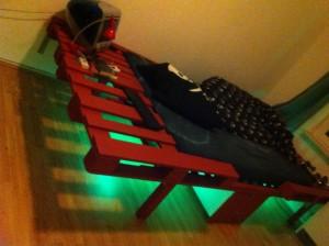 DIY illuminated pallet bed, viev angle 1