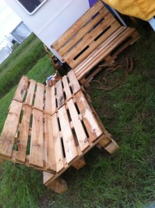 Pallet Camping Bench at OHM2013, without cushions