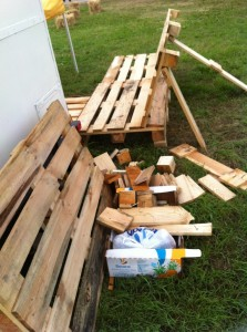 Garden bench made of pallets, surplus material at OHM2013