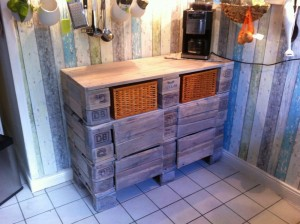 Euro pallet kitchen cabinet. After three days of processing.