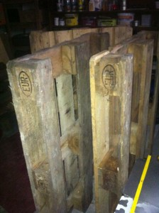 Euro pallets, raw material in medium condition