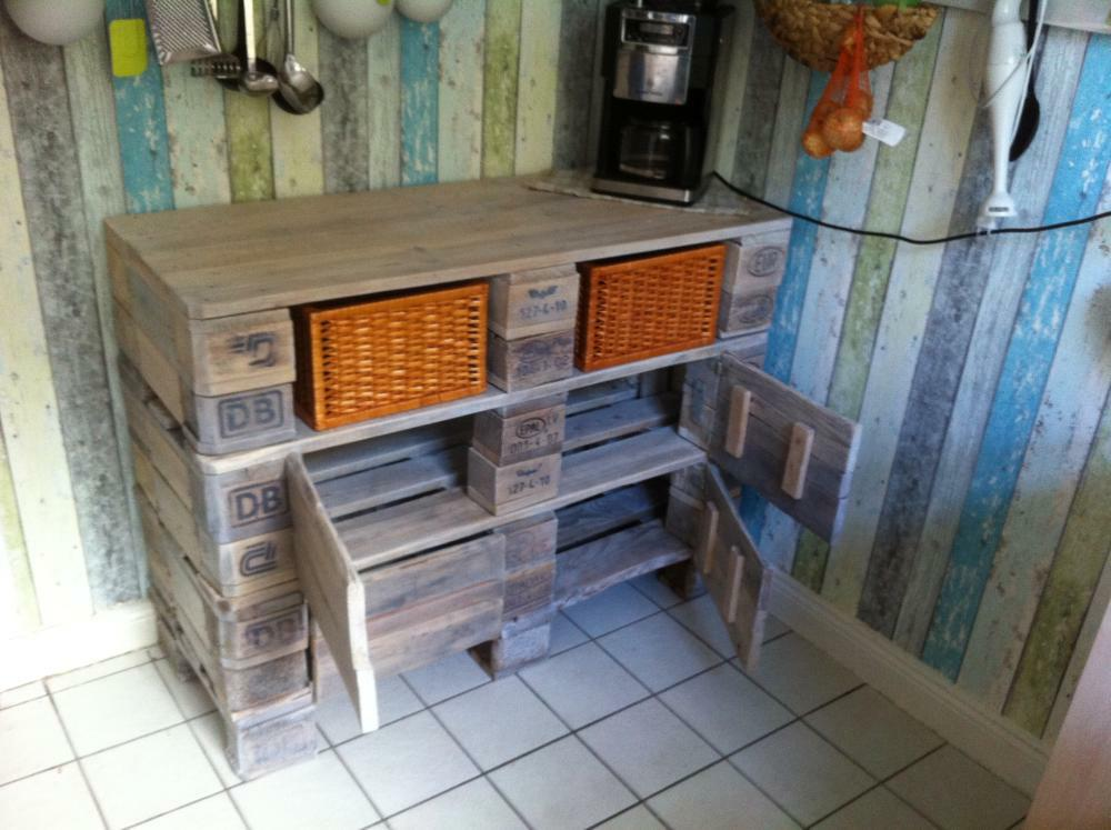 Euro pallet kitchen cabinet small cupboard pallet - Bar selber bauen ...