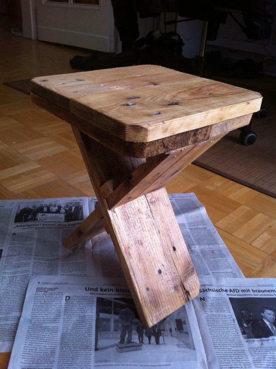 Medium stand for flowers water wax varnished
