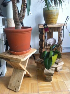 Three flower stands made from Pallet leftovers