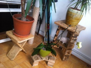 Trilogy of pallet flower stands
