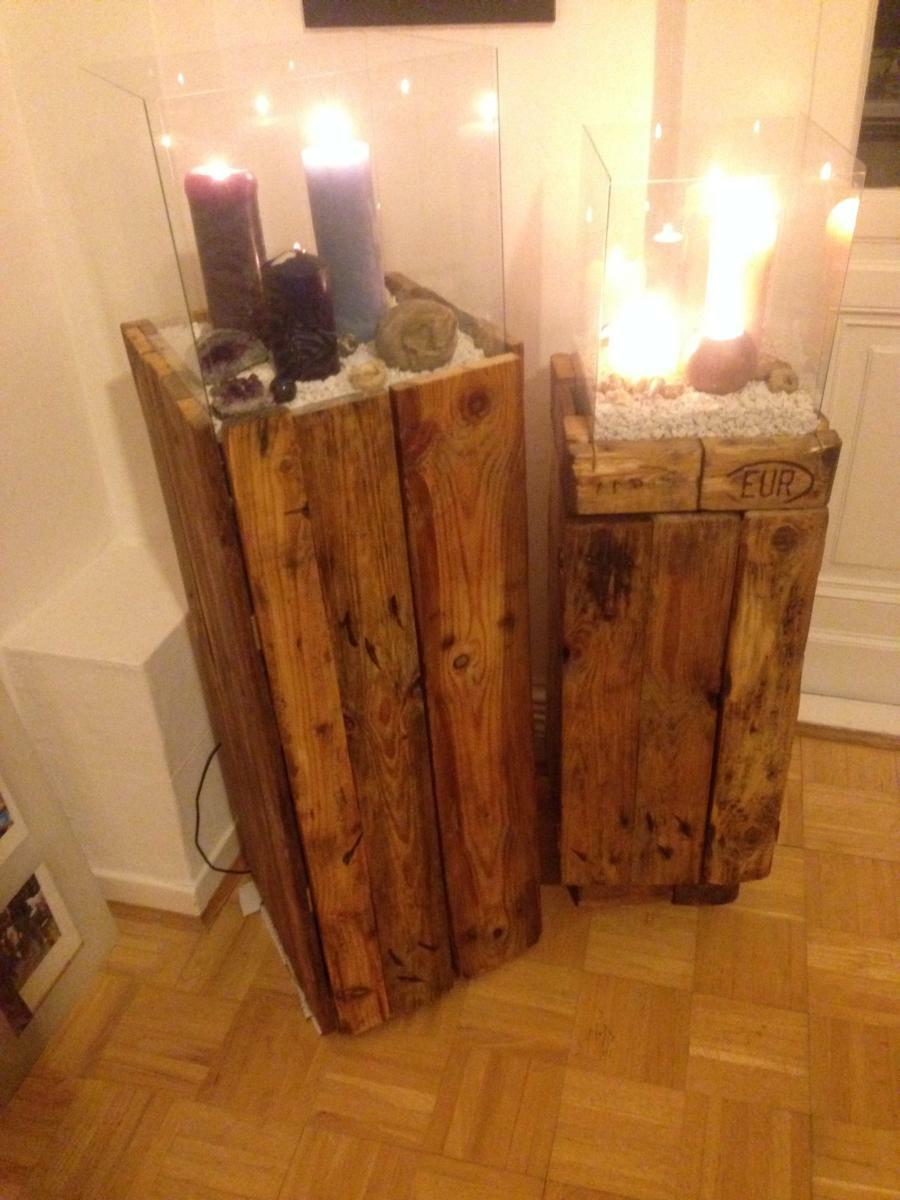 Side Cabinet Wind Light Made Of Pallets Second Attempt