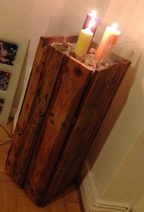 Pallet side cabinet, linseed oil, with photo frame glass panes