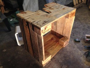 Pallet cabinet shell, front, top, walls straight