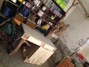Nearly finished pallet dresser: branch/stem assembly