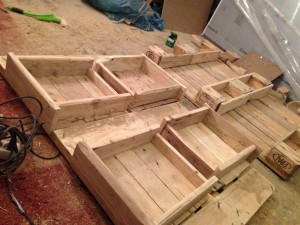 Finished drawers in an open pallet coffee table