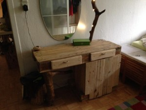 Dressing table from pallets/forest wood and LED, finished