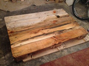 Pallet table, tabletop, partially varnished