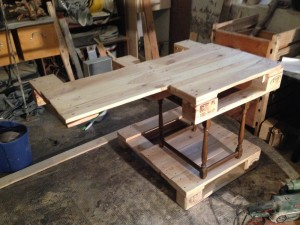 Pallet desk, set up testwise