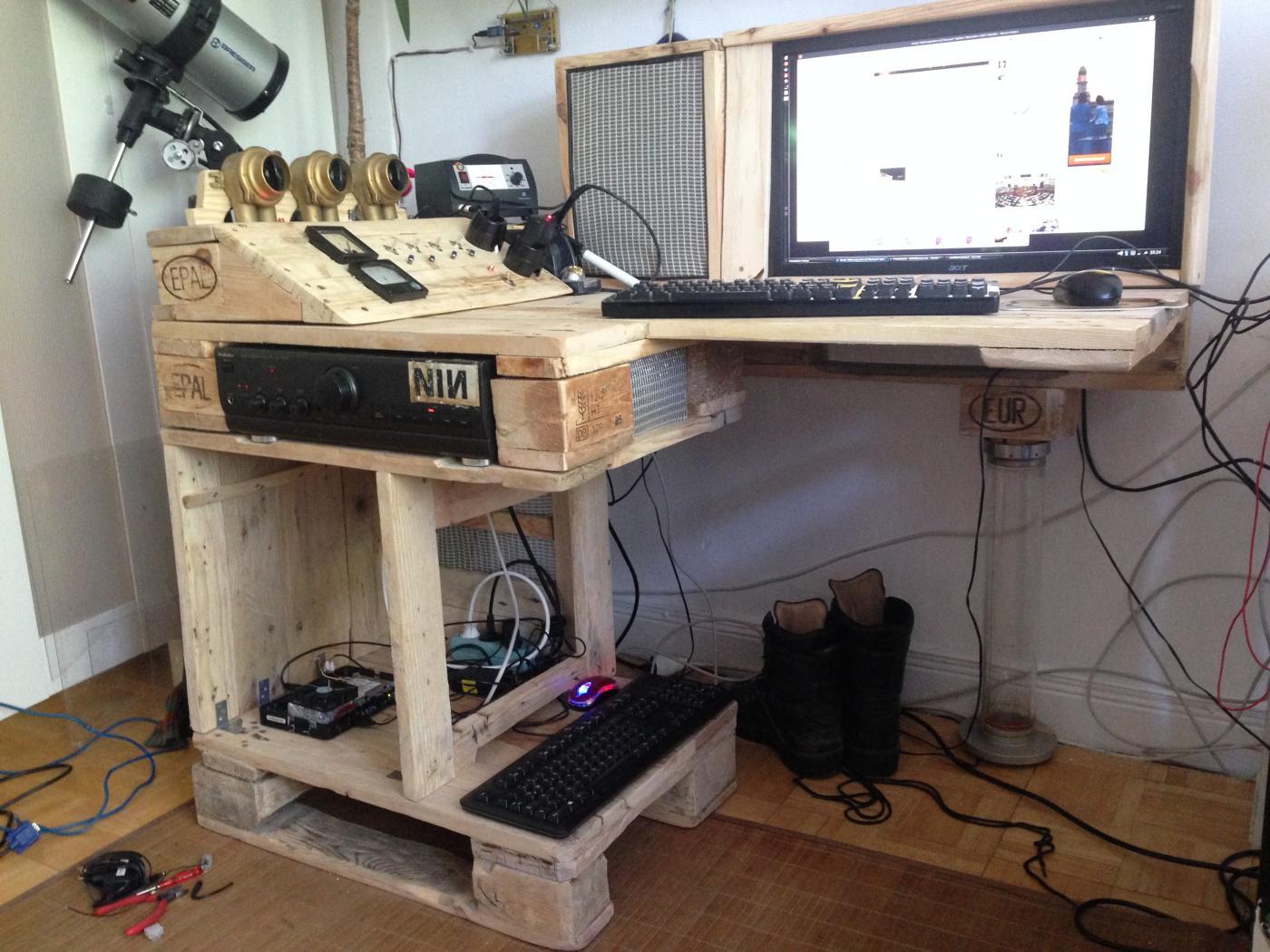 Steampunk Pallet Desk With Server Part 1 Pallet
