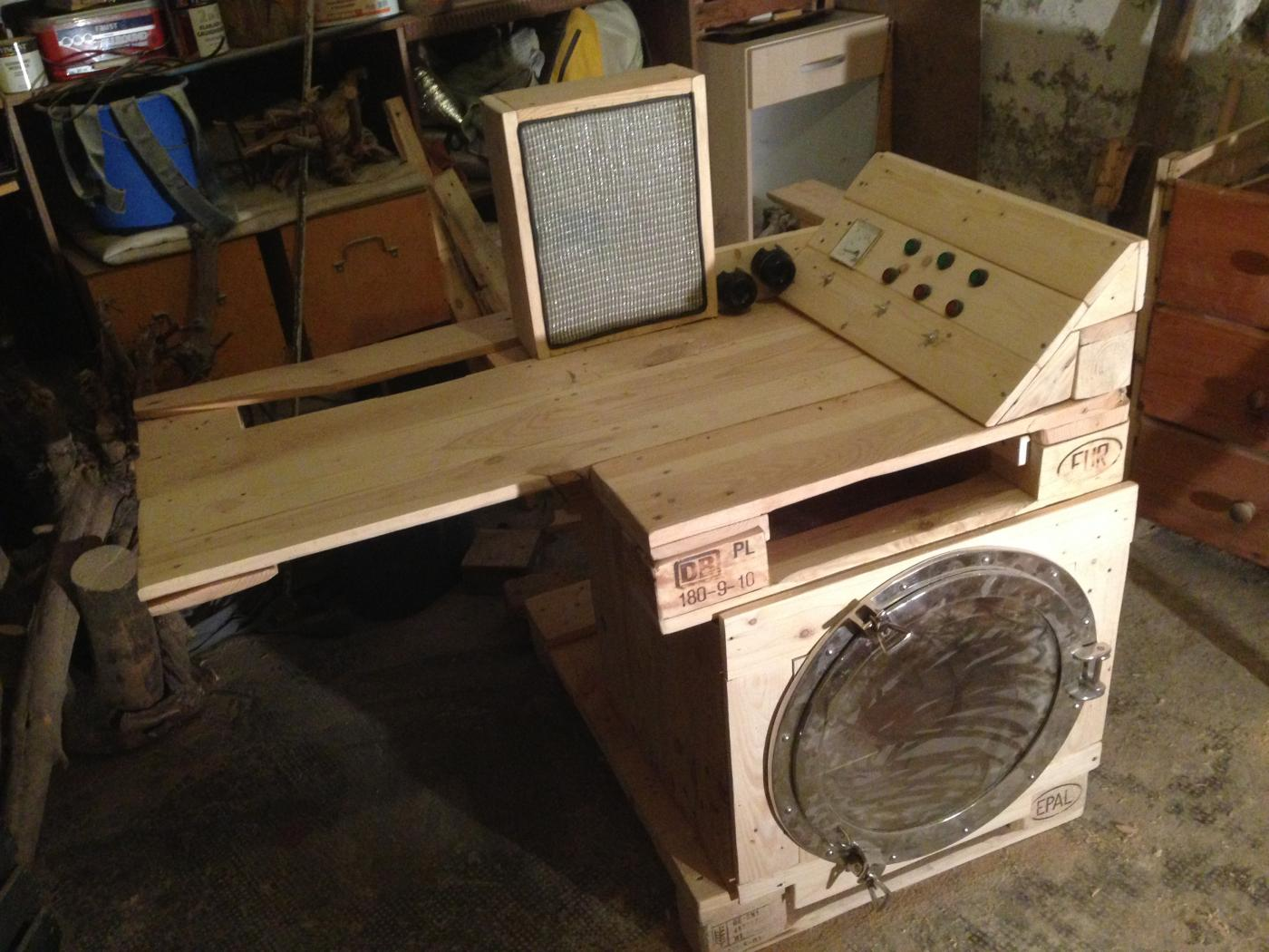 steampunk desk made of pallets part 2 pallet furniture panel wiring table 100 kva generator control panel wiring diagram
