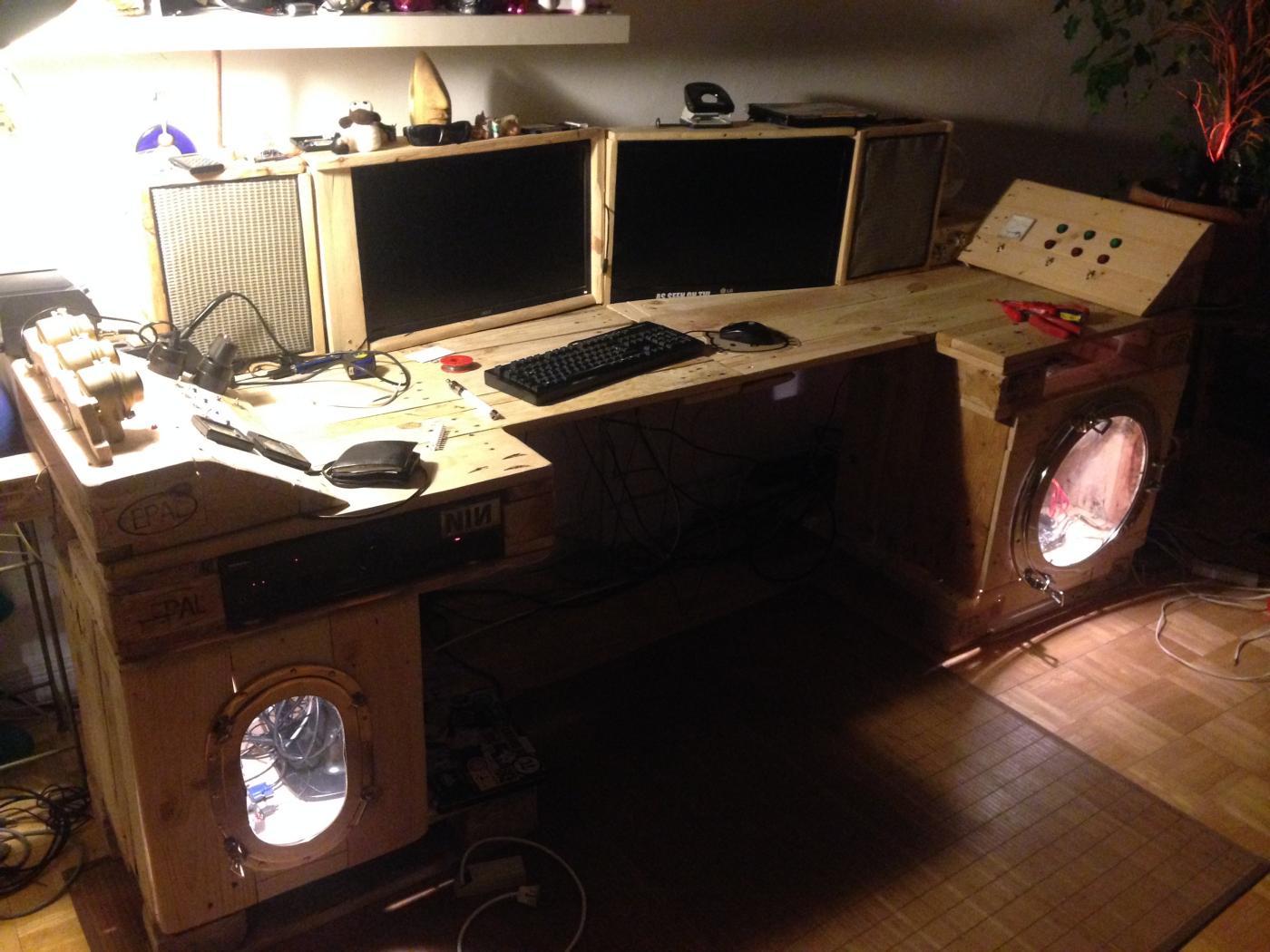 Steampunk desk made of pallets Part 2 Pallet Furniture