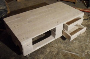 Pallet table, two-storied, white, improved drawer slide
