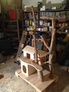 Cat cottage and scratch pole, mostly completed