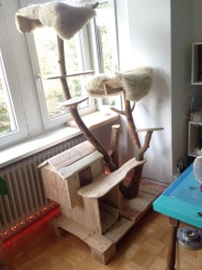 Cat scratching post, cushioned sunbathing areas