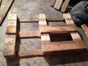 Pallet tabletop, partly assembled,