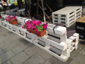 Pallet benches in Poland