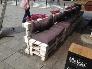 Pallet benches, Poland, front